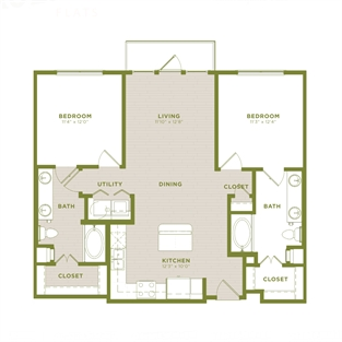 1,122 sq. ft. B5 floor plan