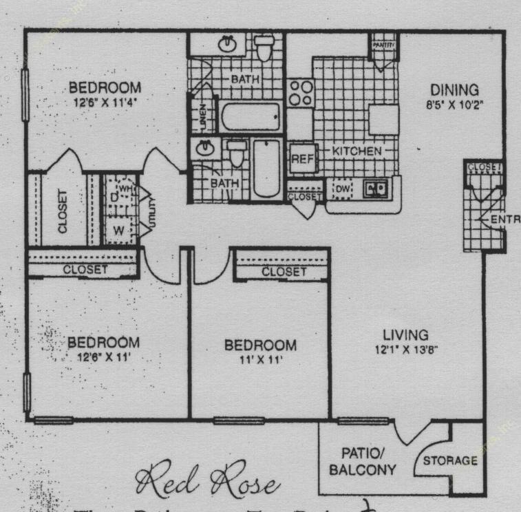 1,200 sq. ft. 50% floor plan