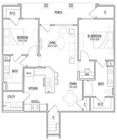 1,065 sq. ft. Huntington floor plan