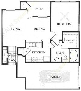 747 sq. ft. A5C-GAR floor plan