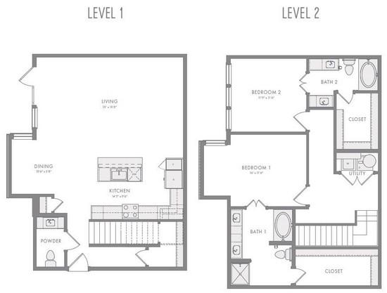 1,706 sq. ft. TH3A floor plan