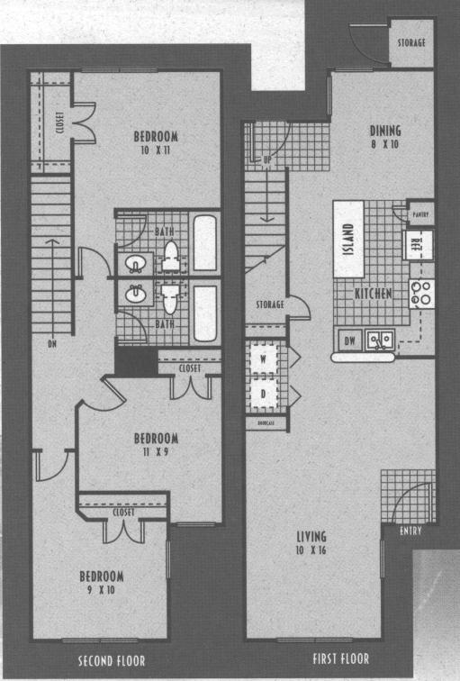 1,200 sq. ft. 60% floor plan