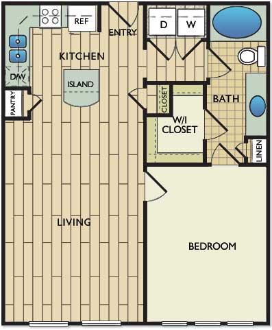 723 sq. ft. Chagall floor plan