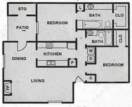 967 sq. ft. B1 floor plan