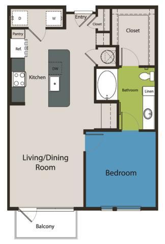 796 sq. ft. A3 floor plan
