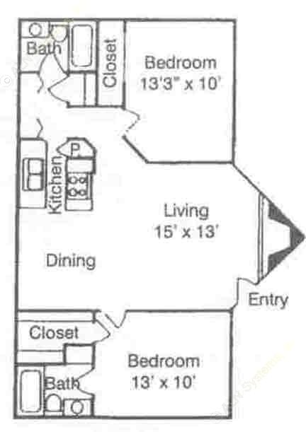 900 sq. ft. B1 U & D floor plan