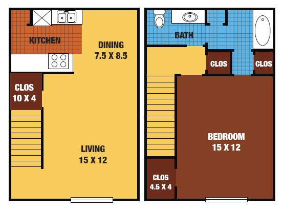 768 sq. ft. to 832 sq. ft. 60% floor plan