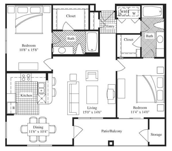 1,144 sq. ft. Del Mar floor plan