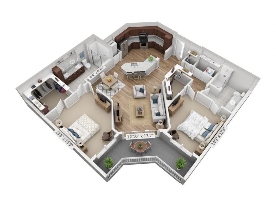 1,331 sq. ft. B4HC floor plan
