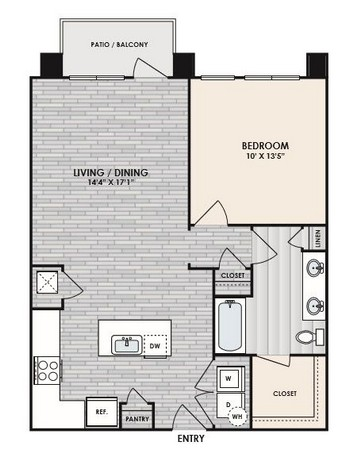 871 sq. ft. to 935 sq. ft. A3A floor plan
