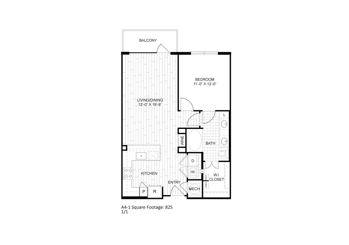 765 sq. ft. A4-1 floor plan