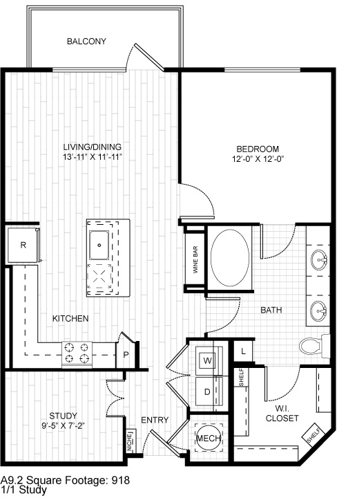 906 sq. ft. A1.2 floor plan