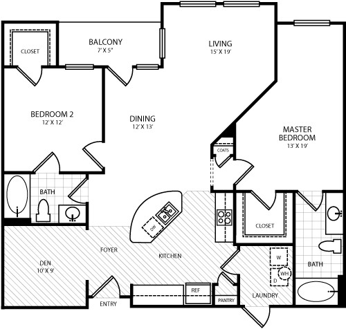 1,273 sq. ft. B6 floor plan