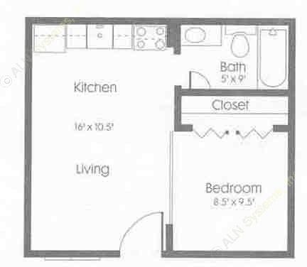 490 sq. ft. floor plan