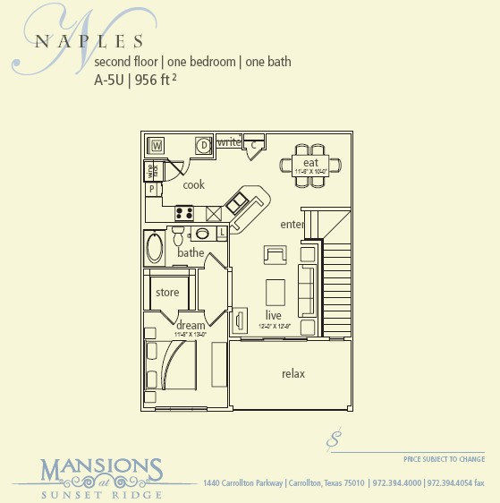 956 sq. ft. Naples floor plan