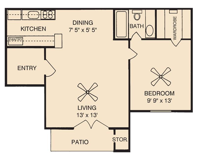 536 sq. ft. A1 floor plan
