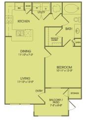 711 sq. ft. A1A floor plan