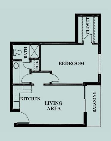 608 sq. ft. Courtyard floor plan