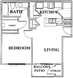 569 sq. ft. A floor plan