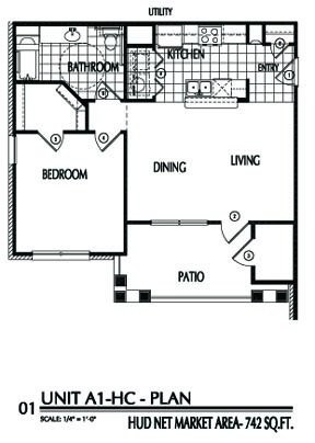 742 sq. ft. A1/60% floor plan