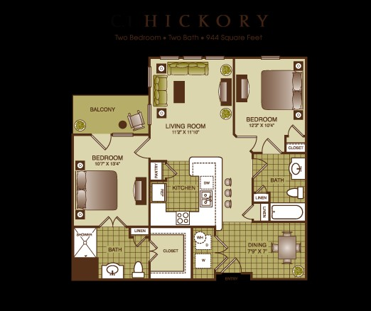 944 sq. ft. Hickory floor plan