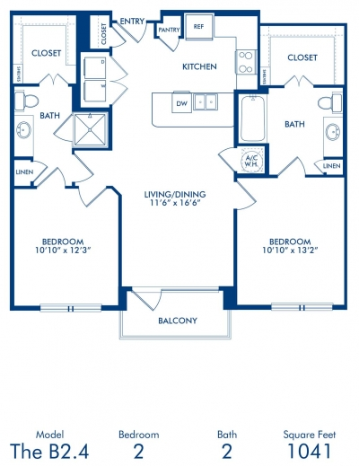 1,041 sq. ft. B2.4 floor plan