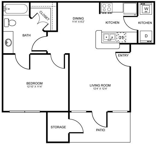 607 sq. ft. A1 floor plan