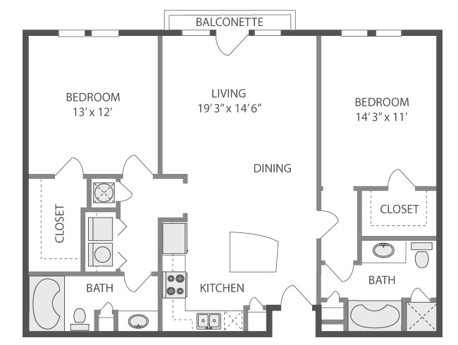 1,095 sq. ft. to 1,119 sq. ft. Huntley floor plan
