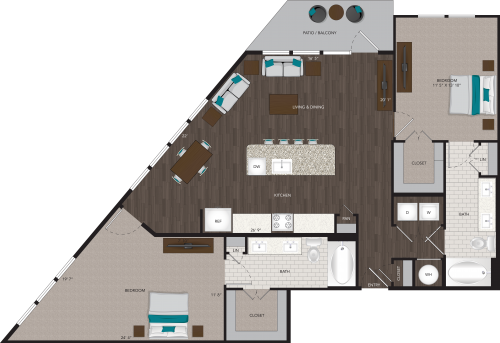 1,324 sq. ft. B5 floor plan