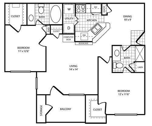 1,020 sq. ft. B3 floor plan