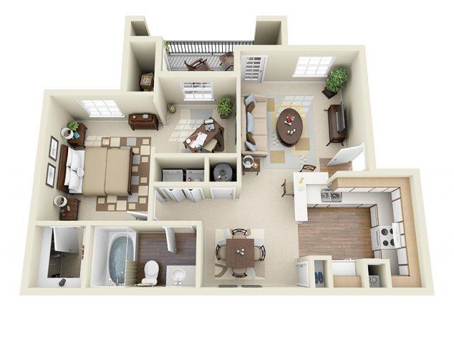 800 sq. ft. Santa Cruz floor plan