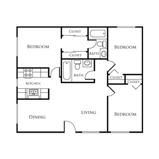 880 sq. ft. EBAN I floor plan