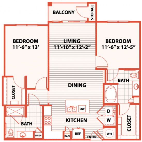 1,150 sq. ft. C3 floor plan