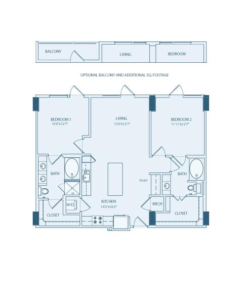 1,121 sq. ft. B1 floor plan