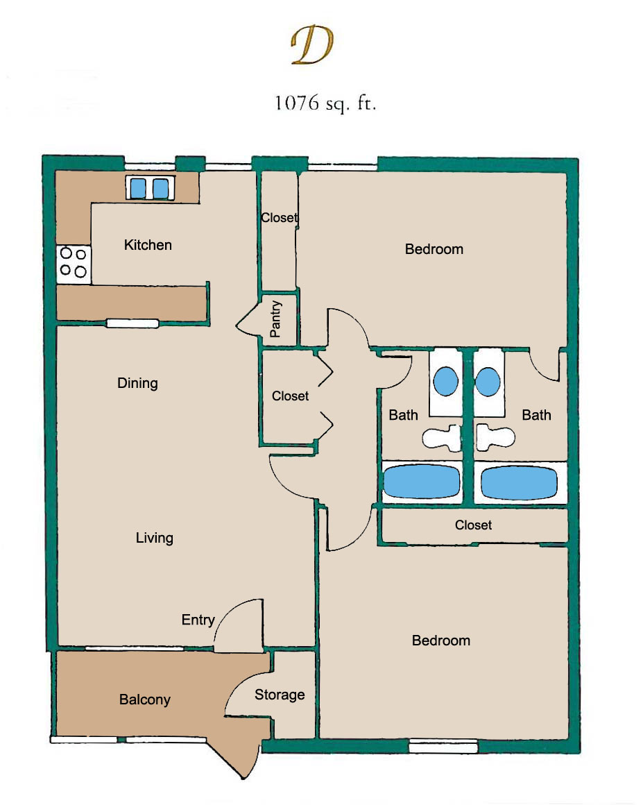 1,076 sq. ft. D floor plan