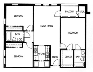 1,238 sq. ft. C4-60% floor plan