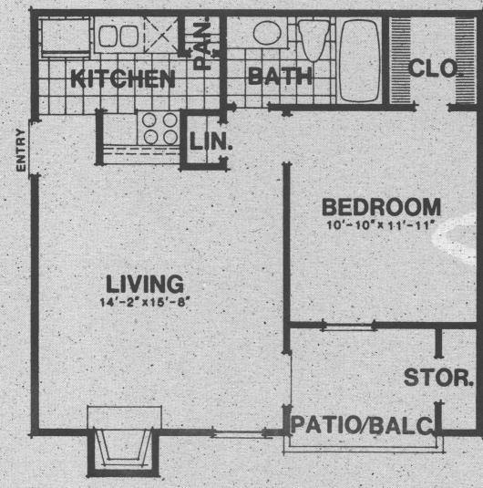 560 sq. ft. A2 floor plan