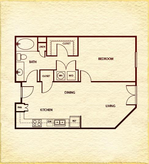 705 sq. ft. A31 floor plan