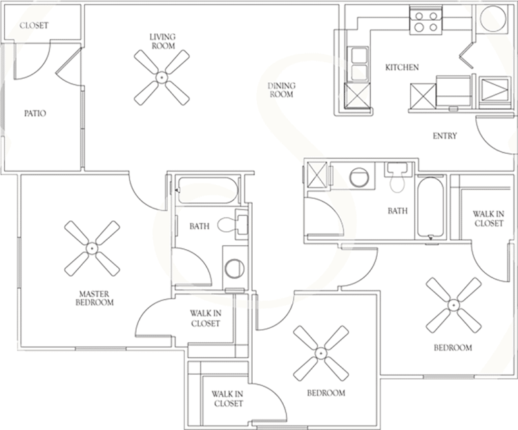 1,132 sq. ft. C1 60% floor plan