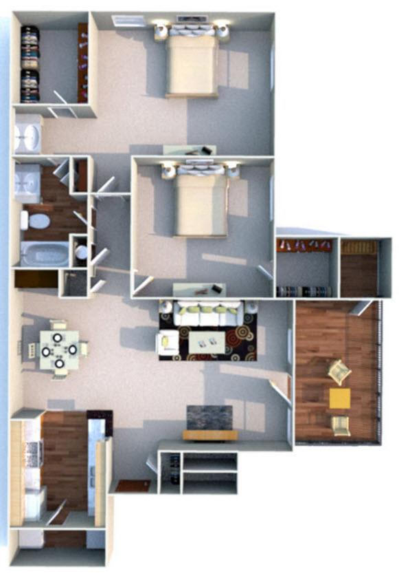 990 sq. ft. E floor plan