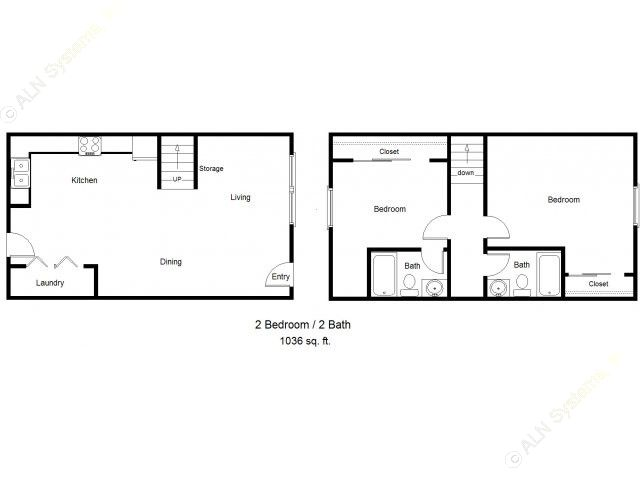 1,036 sq. ft. 50% floor plan