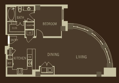 1,089 sq. ft. A6 floor plan