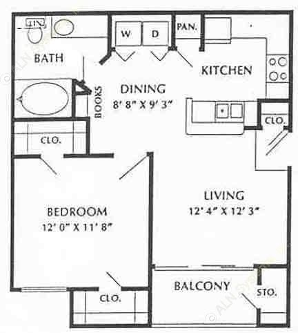 634 sq. ft. Fairfax floor plan