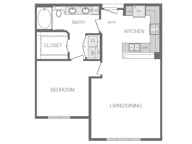 805 sq. ft. to 825 sq. ft. A3 floor plan