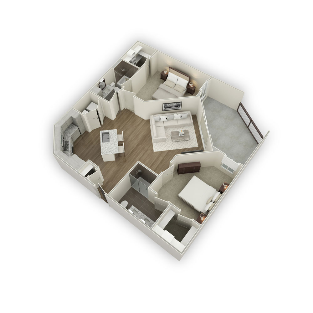 1,123 sq. ft. B2-1 floor plan