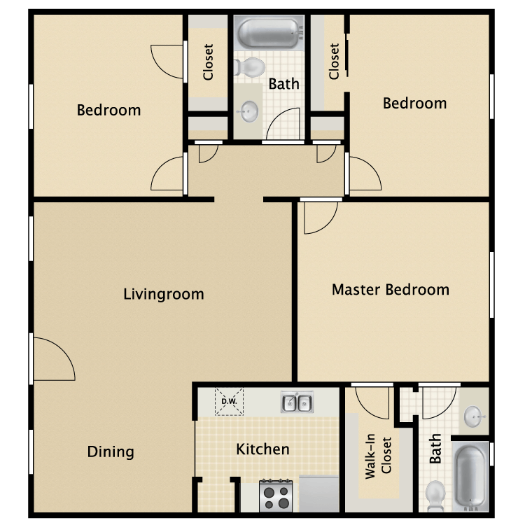 1,111 sq. ft. Lexington floor plan