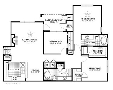 1,388 sq. ft. C3 floor plan