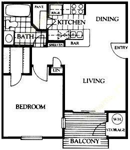 584 sq. ft. Asbury floor plan