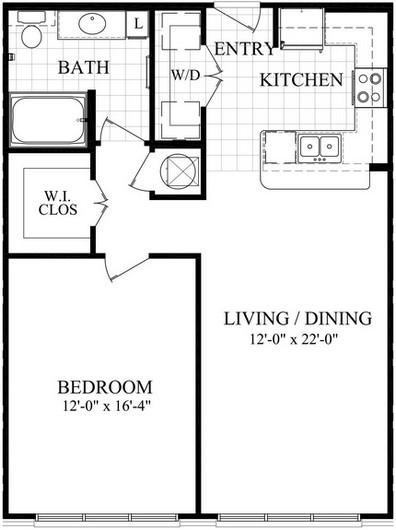 825 sq. ft. A1.6 floor plan