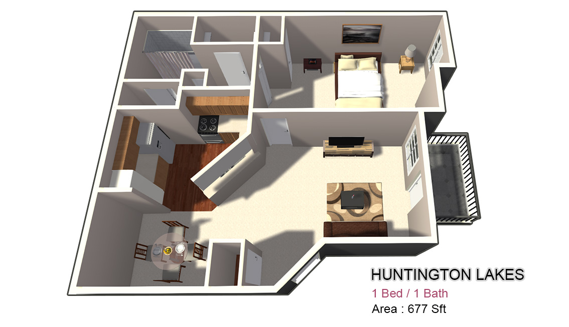 677 sq. ft. 1X1 floor plan